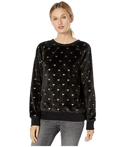 Dylan by True Grit Dream Sherpa Ultra Soft Hearts Sweatshirt (Black/Silver) Women
