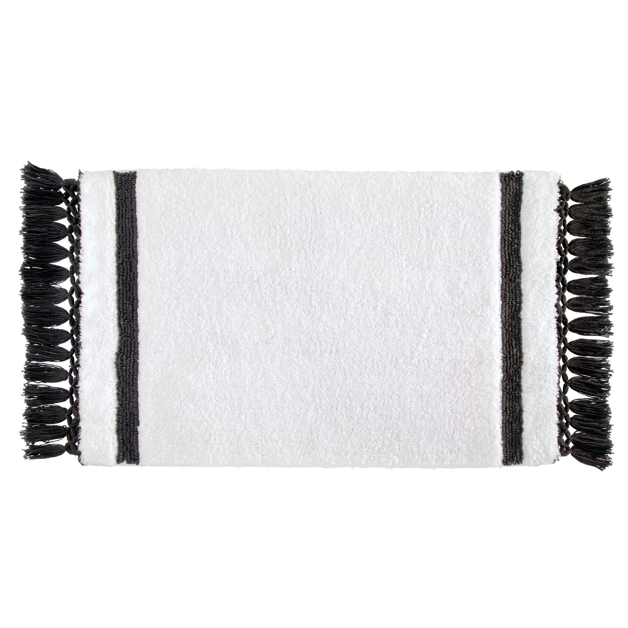 iDesign Stripe Fringe Alfombrilla de baño Suave, Alfombra Rectangular de algodón, Blanco y Gris Antracita, 53,3 cm x 86,4 cm: Amazon.es: Hogar