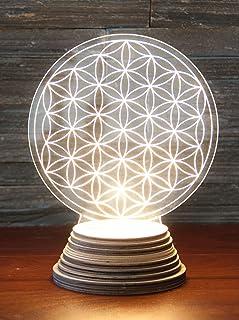 Flor de la vida - Lámpara de ambiente (acrílico, base de madera)