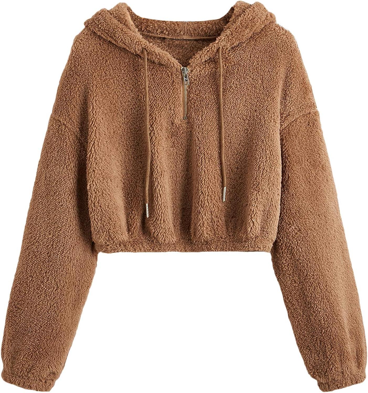 Verdusa Women's Long Sleeve Faux Fur Half Zip Fuzzy Crop Hoodie Teddy Sweatshirt