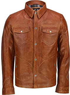 Mens Tan Black Waxed Washed Soft Real Leather Shirt Jacket Vintage Trucker Style