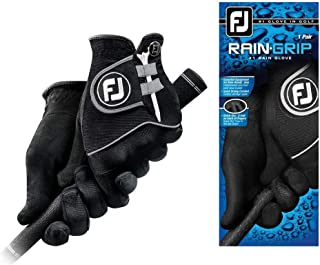 FootJoy Men's RainGrip Golf Gloves, Pair (Black)