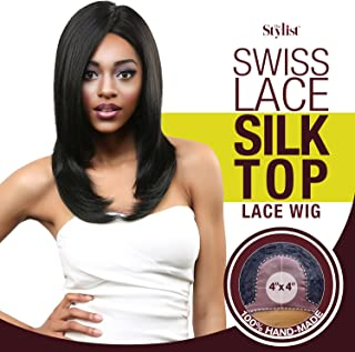 The Stylist Synthetic Lace Front Wig Swiss Lace Silk Top Perfect Layers (1B)
