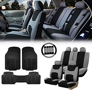 FH Group FB030115 Light & Breezy Cloth Seat Covers, Airbag & Split Ready Gray/Black Combo Set: Steering Wheel Cover, Seat Belt Pads and F11306 Vinyl Floor Mats-Fit Most Car, Truck, SUV, or Van
