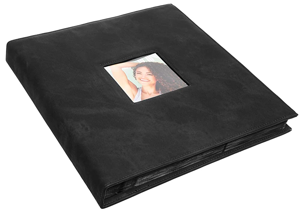Red Co. Black Faux Leather Family Photo Album with Front Cover Window Frame – Holds 600 4x6 Photographs