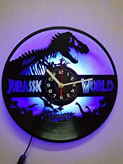 Jurassic World Led Light Night Decor Vinyl Wall Clock, Dinosaur Evolution Vinyl Record Handmade Art Decor for Home Room Kitchen, Vintage Original Gift For Any Occasion, Party Supplies Decoration