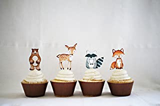 Woodland Cupcake toppers, Woodland Party food picks Set of 12