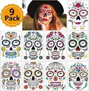 9 Sheets Halloween Temporary Face Tattoos Day of the Dead Sugar Skull Floral Black Skeleton Web Red Roses Full Face Mask Tattoo for Women Men Adult Kids Boys Halloween Party Favor Supplies