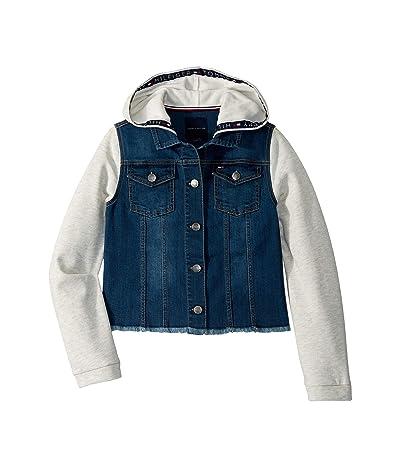 Tommy Hilfiger Kids Mixed Media Denim Jacket (Big Kids) (Hudson Wash) Girl