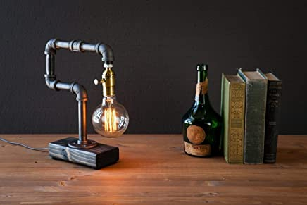 Industrial Steampunk table pipe lamp with Globe Edison bulb and Weathered wood base
