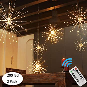 PXB 2 Pack Starburst Sphere Lights,200 Led Firework Lights, 8 Modes Dimmable Remote Control Waterproof Hanging Fairy Light, Copper Wire Lights for Patio Parties Christmas (2 Pack Battery Operated)