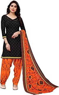 TreegoArt Fashion Women's Crepe Printed For Girl's & Women's Unstitched Dress Material -(Free Size) Black
