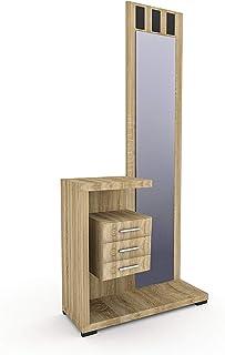 HomeSouth - Recibidor con Espejo y Tres cajones Mueble de Entrada Acabado en Cambria Modelo Prisma Medidas: 75 x 85 x 2...