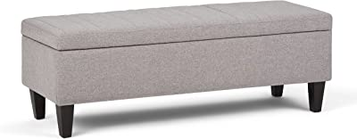 SIMPLIHOME Monroe 48 inch Wide Rectangle Lift Top Storage Ottoman in Cloud Grey Tufted Linen Look Fabric with Large Storage Space for the Living Room, Entryway, Bedroom, Contemporary