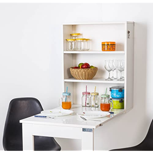 INVISIBLE BEDWall Mounted wall cabinet, foldable Plywood table for Home, Office in Beautiful White (Plywood)