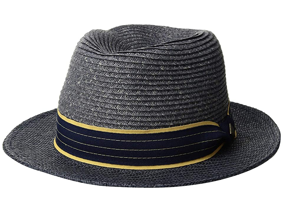 San Diego Hat Company SDH3319 Paperbraid Fedora with Woven Brim (Navy) Caps