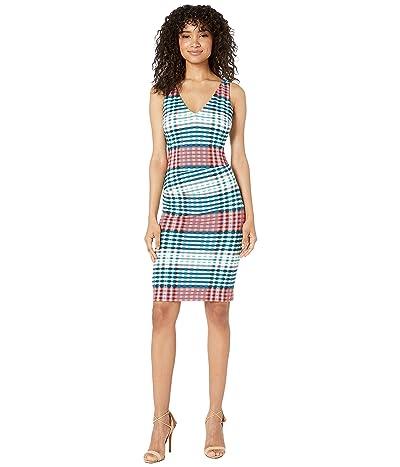 Nicole Miller V-Neck Hip Tuck Dress (Multicolor) Women