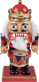 Clever Creations Traditional King Nutcracker Collectible Wooden Christmas Nutcracker | Festive Holiday Décor | Chubby Style | Red and Blue | Jeweled Crown | Holding Drum | 100% Wood | 7