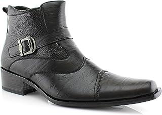 Delli Aldo Men's Buckle Strap Ankle High Dress Boots Shoes