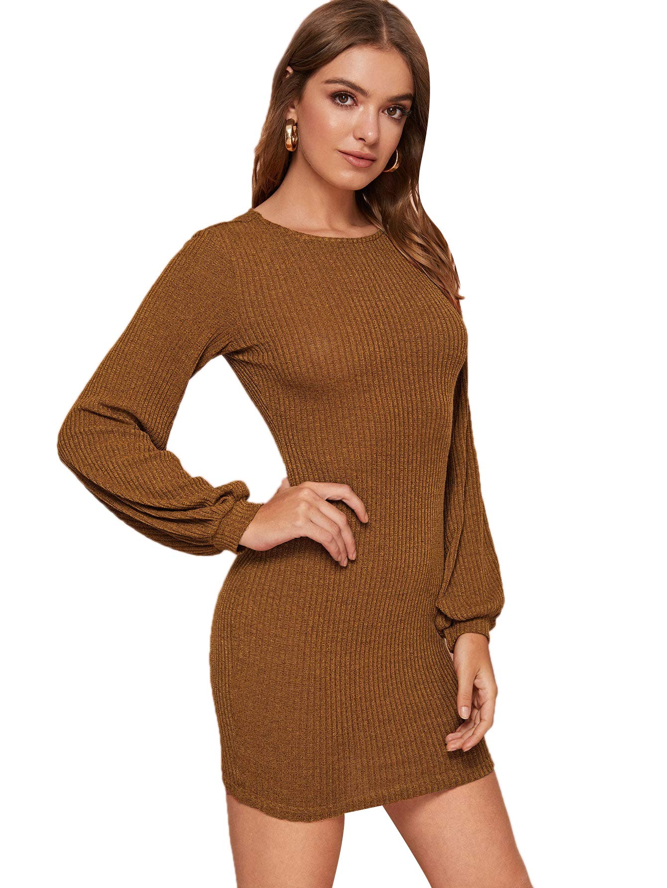 Available at Amazon: Romwe Women's Elegant Rib Knit Lantern Long Sleeve Crew Neck Slim Fit Pencil Bodycon Mini Dress