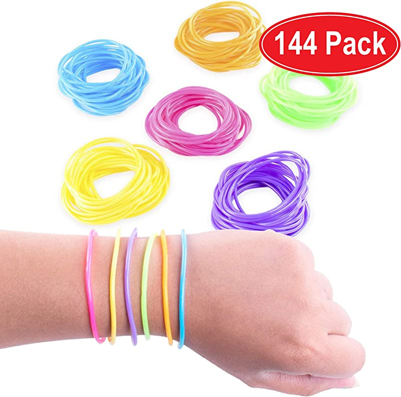 Super Z Outlet 80s Colorful Retro Rock Pop Star Rainbow Diva Disco Jelly Neon Gel Stretchable Bracelets Bands For Theme Events Colorful Assortment Assorted Toy Party Favor Prizes Assorted 144pk