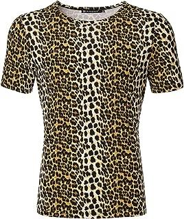 uxcell Men Short Sleeve Round Neck Leopard Print T Shirt