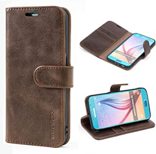 Mulbess Galaxy S6 Protective Cover, Magnetic Closure RFID Blocking Luxury Flip Folio Leather Wallet Phone Case with Card Slots and Kickstand for Samsung Galaxy S6, Coffee Brown