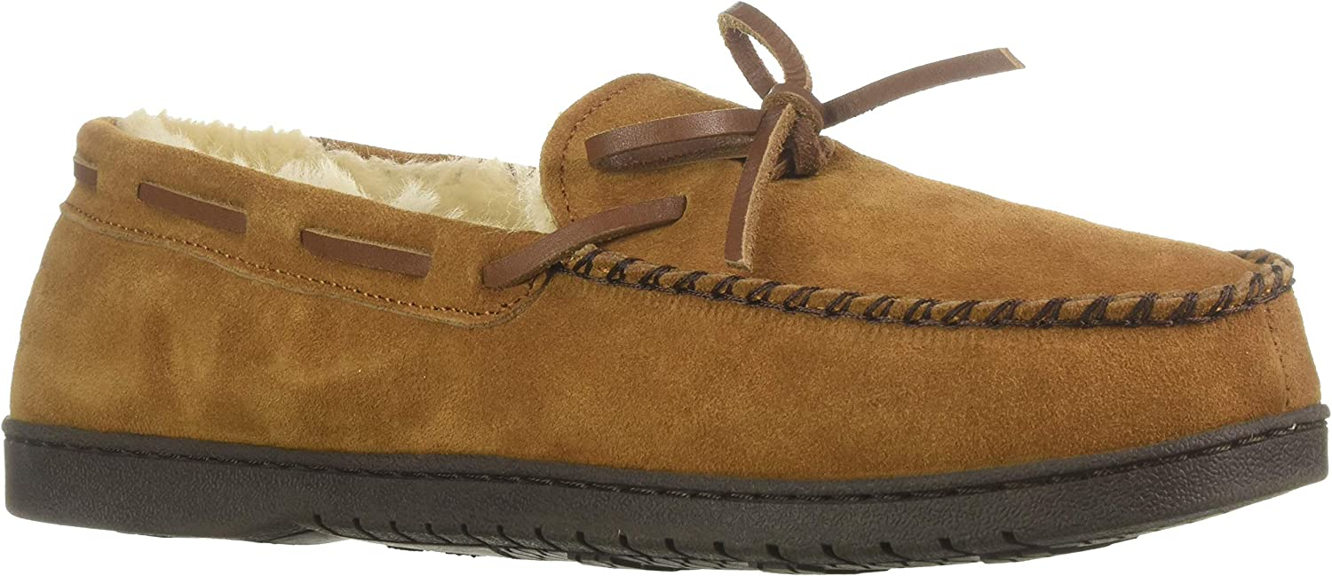 Dearfoams Mens Genuine Suede Moccasin with Tie Slipper