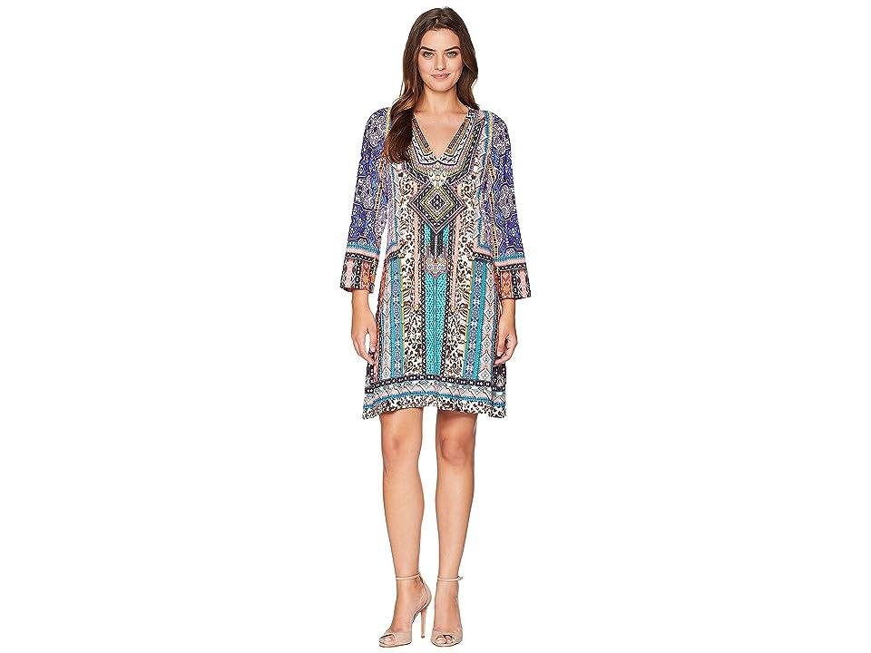 Hale Bob Power Hour Matt Micro Fiber Jersey Dress (Teal) Women