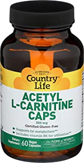 Country Life Acetyl L-Carnitine Caps - 500 mg with Vitamin B6-60 Vegan Capsules - May Help Support Fat Metabolism - Aids U...