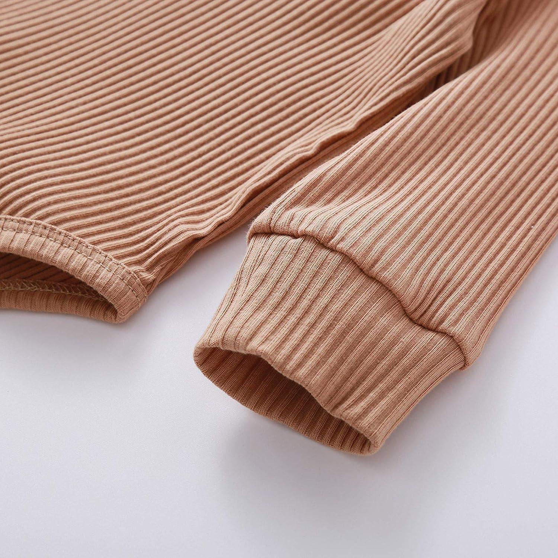 0-2 A/ños,SO-buts Beb/é Ni/ñas Ni/ños Monos Acanalados De Color S/ólido Mameluco De Punto De Manga Larga Pantalones El/ásticos Pijamas Conjunto De Trajes De Dormir