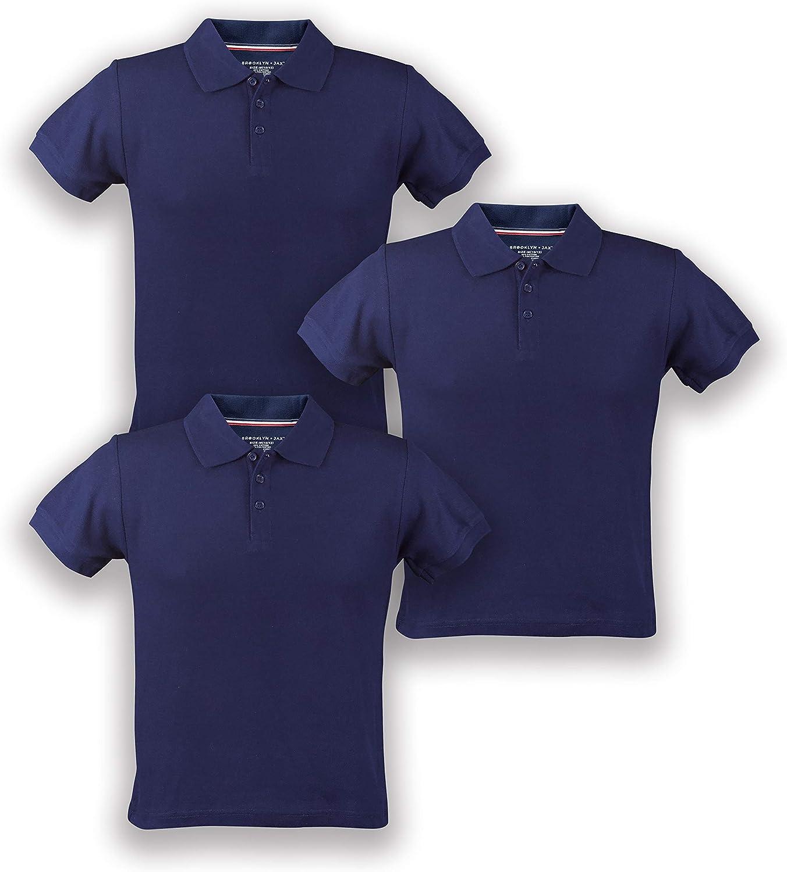 Premium Boys' Short Sleeve Pique Polo Shirt, Uniform - 3 Pack