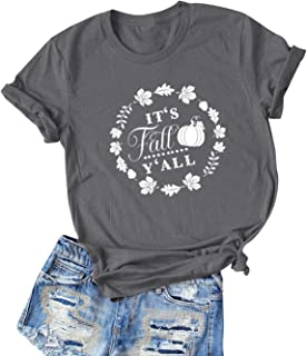 Women Its Fall Yall Letter Floral Pumpkin Graphic Short Sleeve Tshirt Tee