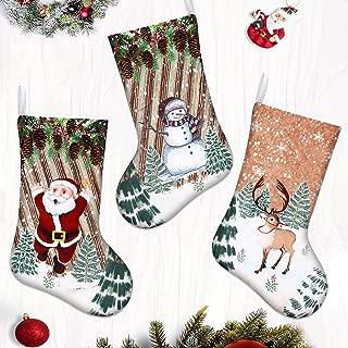 LimBridge Christmas Stockings, 3ct 18 inches Santa Snowman Reindeer Print Fleece Christmas Stockings, Xmas Holiday Home Decoration