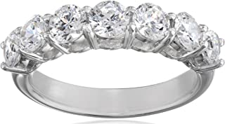 Platinum or Gold Plated Sterling Silver 7-Stone Ring made with Swarovski Zirconia