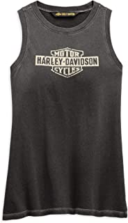 HARLEY-DAVIDSON Official Women's Distressed Logo Tank, Black