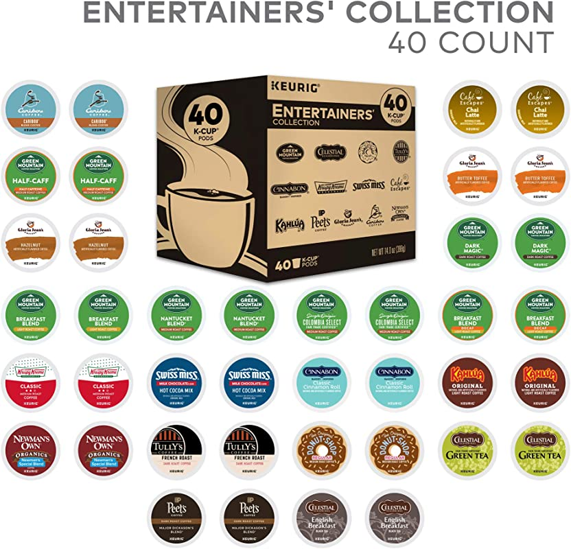 Keurig Entertainers Variety Pack Single Serve Coffee K Cup Pod Sampler 40 Count