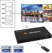 J-Tech Digital HDMI Multi-Viewer Quad 4x1 Seamless Switch 1080p Switcher w/5 Display Modes & VGA Loop Out [JTECH-MV41V]