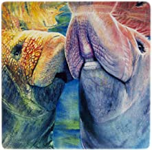 product image for Adorable Manatee Couple Wooden Coaster - Watercolor Art by Colleen Nash Becht