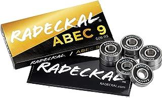 RADECKAL Black ABEC 9 Skateboard Bearings, Skateboards, Longboards, Cruisers, Inline Skates, Roller Skates, Pre-Lubricated, High Precision Rating, Long Lasting