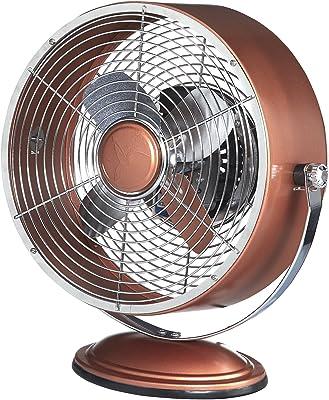Deco Breeze Retro Collection Copper Metallic Swivel Table Fan,