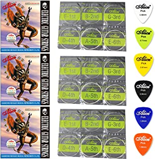 3 Packs Alice A506 Electric Guitar Strings Extra Light (.008 .010 .015 .021 .030 .038), Set of 6, With 6 Gauges Guitar Pic...