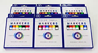 Color Swell Washable Markers 6 Boxes of 8 Vibrant Colors Are Perfect for Kids, Teachers, Adults, Parties, and Families