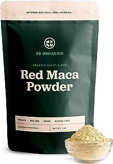 SB Organics Gelatinized Red Maca Powder - 1 lb Bag of Organic Non-GMO Vegan Peruvian Maca Root Powder - Free of Gluten, Da...
