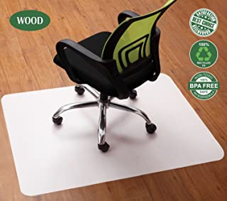 Lesonic Office Chair Mat White - Best Non-Slip Protector for Hardwood Floor from Rolling Chairs and Under Computer Desks and Tables, 4735 Inch Rectangle Non-Curve and Durable PP and EVA Floor Cover