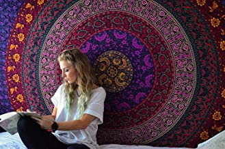 RAJRANG Mandala Tapestry Hippie Bohemian Bedspread Indian Psychedelic Single Cotton Bedsheet Decorative Bed Cover (Purple and Pink)