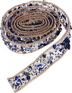 Apliques de renda de strass de cristal SUPVOX 1 metro com acabamento de pérola para cinto de faixa (azul)