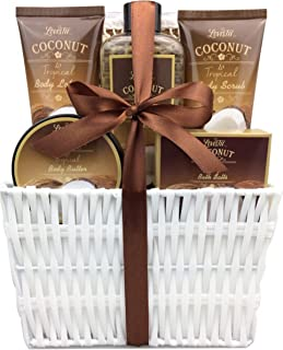 Mother's Day Spa Gift Baskets and Bath Set with Refreshing Coconut Fragrance Lovestee - Bath and Body Gift Set Includes Shower Gel Body Lotion Body Scrub Body Butter Bath Salt and Loofah Back Scrubbed