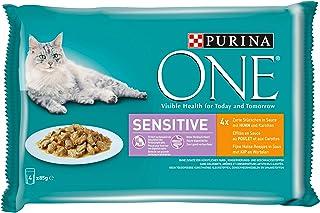 PURINA ONE SENSITIVE kattenvoer nat, delicate stukjes in saus met kip, verpakking van 4 (4 x 85 g)