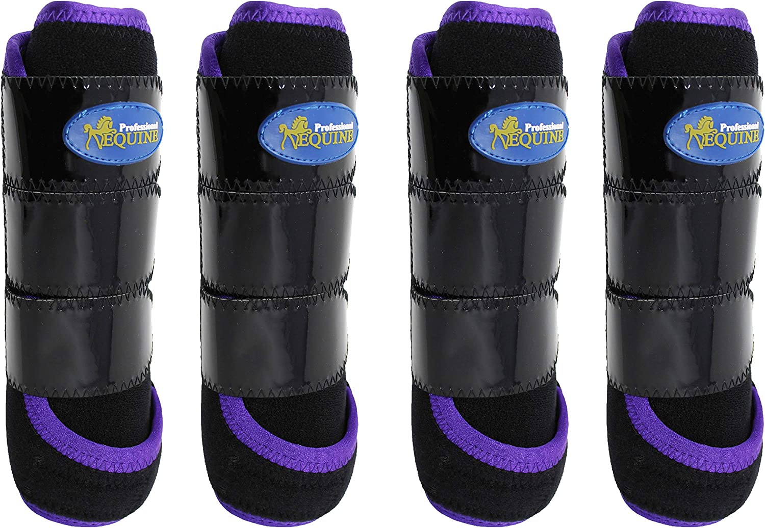 (Black Purple) - Professional Equine Horse Medium 4-Pack Sports Medicine Splint Boots 41C